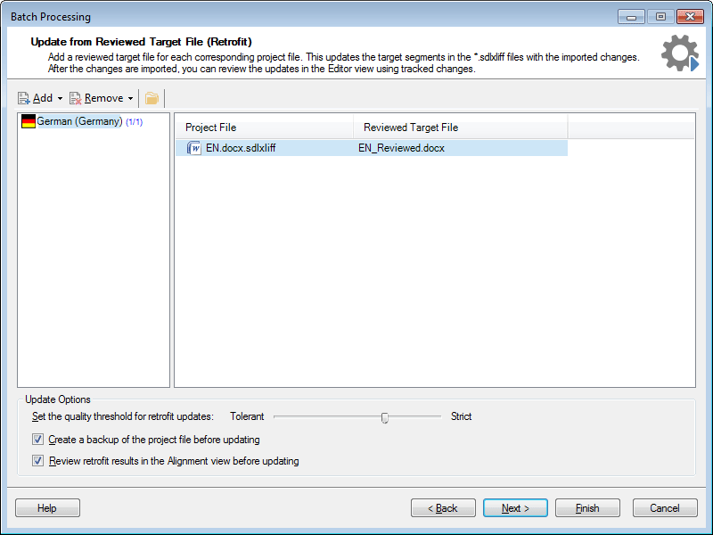 Retrofit - Batch Processing in SDL Trados Studio 2015