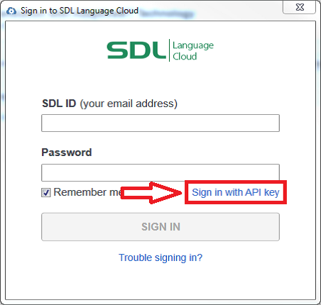 Sign into SDL Language Cloud with the API key