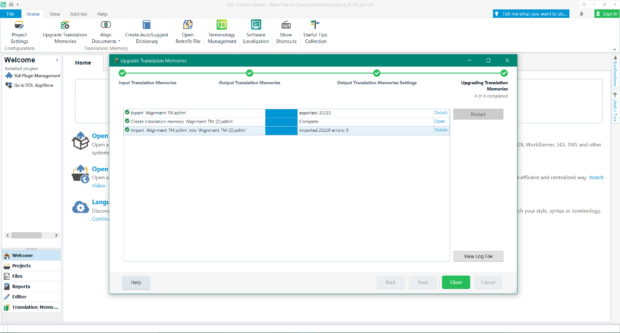 Upgraded translation memory - SDL Trados Studio 2019 SR1