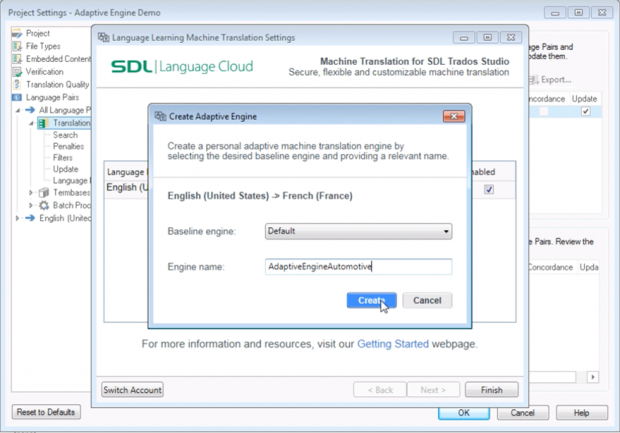 Creating an adaptive machine translation engine in SDL Trados Studio