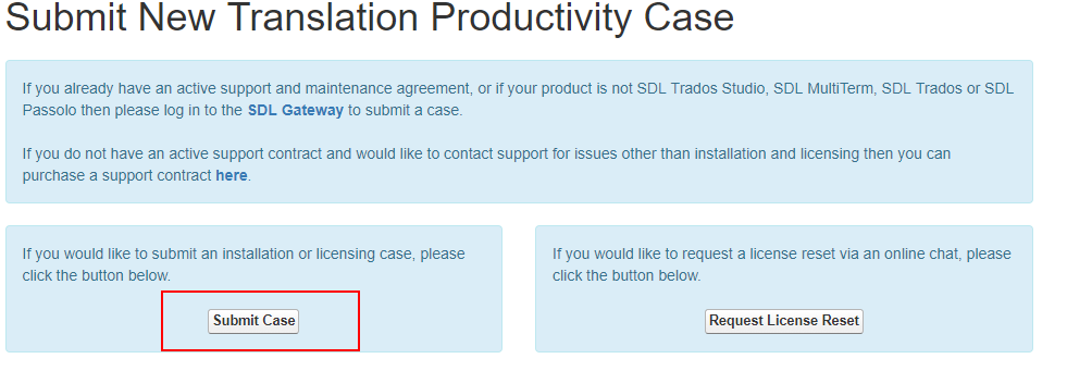 submit an installation or licensing support case - SDL Trados Studio